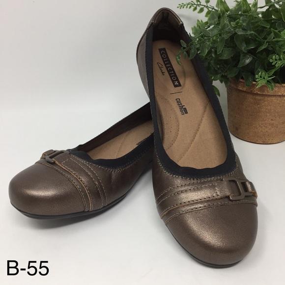 07261e0742f Clarks Kenzie Light Pewter Leather Slip On Shoes